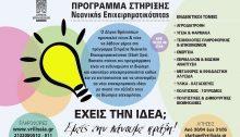 Ο Δήμος Βριλησσίων υλοποιεί το Πρόγραμμα Υποστήριξης της Νεανικής Επιχειρηματικότητας με στόχο τη διάδοση του «επιχειρείν», τη στήριξη της νεανικής επιχειρηματικότητας και τη δημιουργία προϋποθέσεων για προσέλκυση καινοτόμων ιδεών και νέων ομάδων.