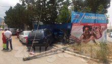 Στην περίφραξη κολυμβητηρίου που βρίσκεται στην οδό Ηρακλείτου στο Πάτημα Χαλανδρίου, «καρφώθηκε» αυτοκίνητο, κάτω από αδιευκρίνιστες συνθήκες.