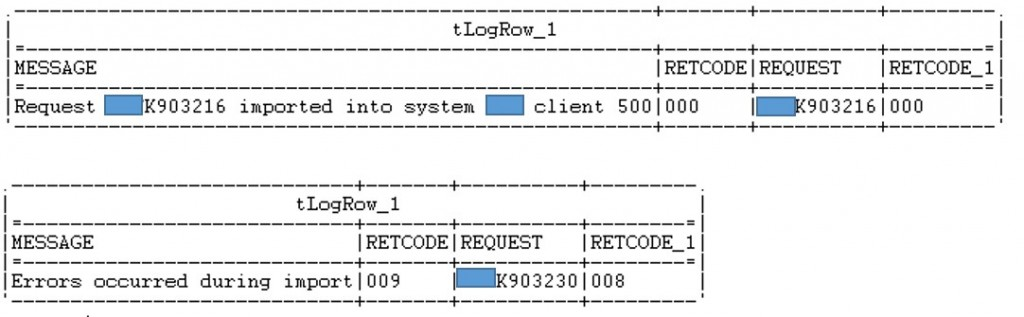 Figure 4: Talend logs